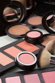 set makeup cosmetics. compact powder, mineral foundation and makeup brushes poster