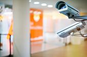 security camera and urban video indoors in shop center poster