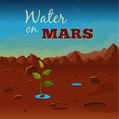 Water on Mars. Space research. Vector illustration poster