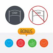 Start banner icon. Marathon checkpoint sign. Shopping cart, globe, heart and check bonus buttons. Ban or stop prohibition symbol. poster