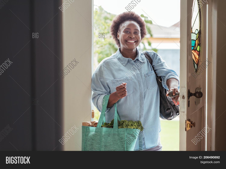 Smiling African Woman Walking Image Photo Bigstock