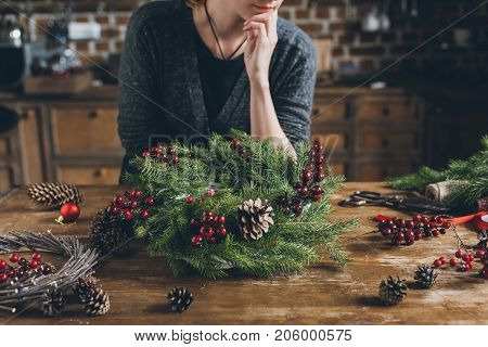 Decorator With Christmas Wreath