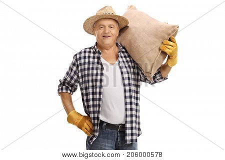 Farmer with a burlap sack isolated on white background