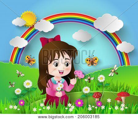 Cute girl sitting in a flower garden with rainbow