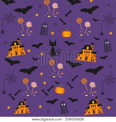 Halloween patterns with holiday symbols. Vector background can be used for wallpaper fills web pagesurface scrapbook holiday card invitation and party design.