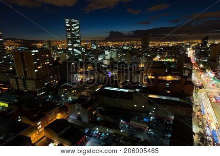 A long exposure of the BD Bacata Buildings under construction just after sunset in Bogota Colombia.