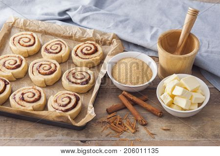 homemade delicious cinnamon rolls ready to bake - sweet food