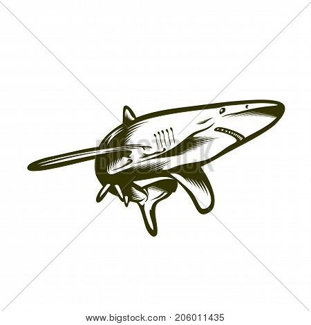 Swimming shark, engraving style vector emblem for tatto or printing