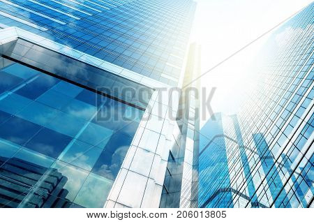 Modern business building glass of skyscrapers Business concept of architecture