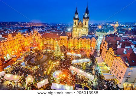 Prague Czech Republic. Christmas Market in Stare Mesto old square Tyn Church Bohemia.