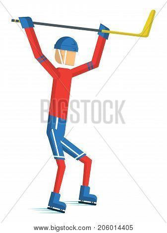 Hockey player cartoon sport action Vector illustration