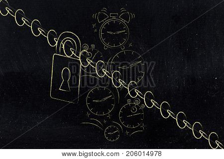 Clocks Falling Behind A Chain With Lock
