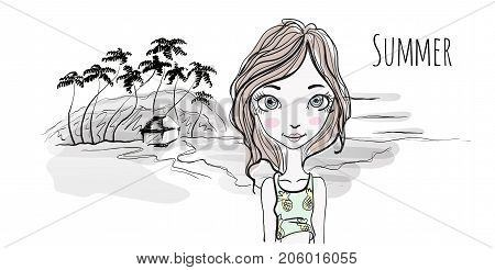 Young girl on sea beach at sunset, palm trees and hut on the shore. Vector illustration in sketch style, isolated on white.