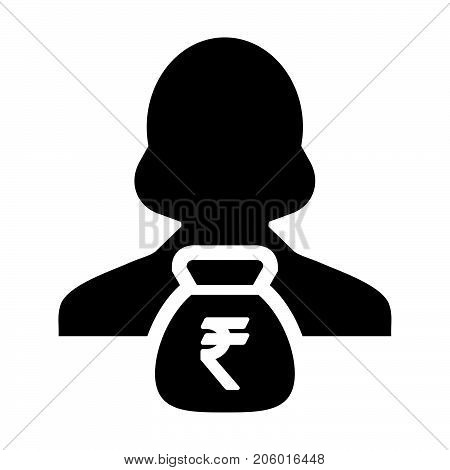 Indian Rupee Sign Icon Vector Person Female Avatar Symbol With Money Bag For Business Finance And Ba