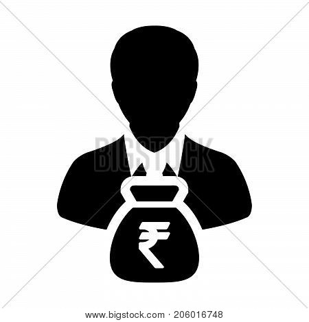 Indian Rupee Sign Icon Vector Person Male Avatar Symbol With Money Bag For Business Finance And Bank