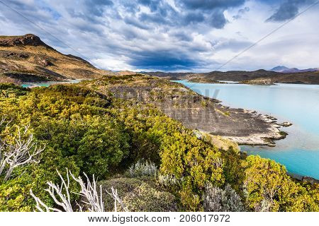 Torres del Paine Chile. Autumn austral landscape in Patagonia with Lago Pehoe in South America.