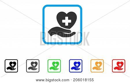 Hand Offer Cardiology icon. Flat pictogram symbol in a rounded rectangle. Black, gray, green, blue, red, orange color versions of Hand Offer Cardiology vector.