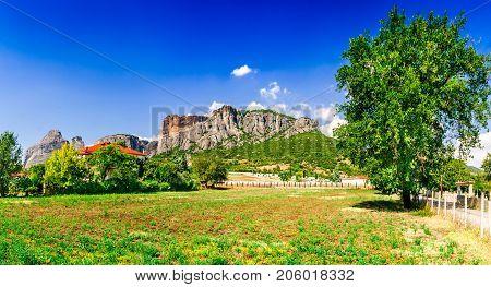 Kalabaka Greece. City Kastraki (Kalambaka) with rocky mountains of Meteora the landmark of six monasteries in Thessaly.