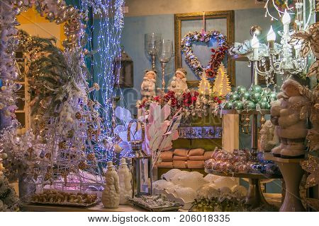 VETRALLA, ITALY - SEPTEMBER 23,  2017: The reign of Santa Claus shop with christmas decorations