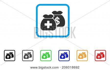 Health Care Funds icon. Flat pictogram symbol in a rounded square. Black, gray, green, blue, red, orange color additional versions of Health Care Funds vector. Designed for web and software UI.