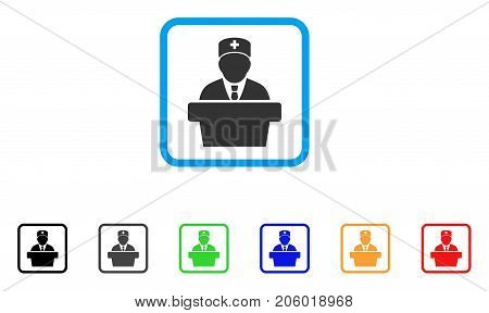Health Care Official icon. Flat pictogram symbol inside a rounded rectangle. Black, gray, green, blue, red, orange color additional versions of Health Care Official vector.