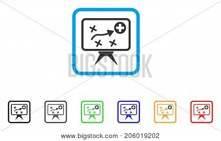 Health Strategy icon. Flat pictogram symbol inside a rounded squared frame. Black, gray, green, blue, red, orange color additional versions of Health Strategy vector.