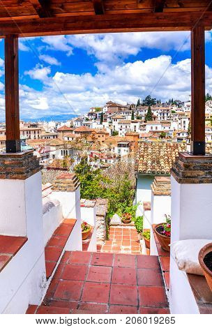 Granada Spain - Albaicin Moorish medieval quarter traditional arabic architecture of Andalusia