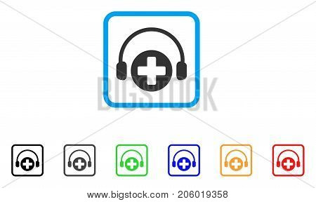 Hospital Call Service icon. Flat iconic symbol in a rounded squared frame. Black, gray, green, blue, red, orange color versions of Hospital Call Service vector.