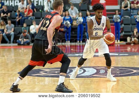 ST. PETERSBURG, RUSSIA - AUGUST 6, 2017: Shawn Dawson, Israel in action during basketball match Russia (black) vs Israel (white) for Kondrashin-Belov Cup. Israel won 79-71