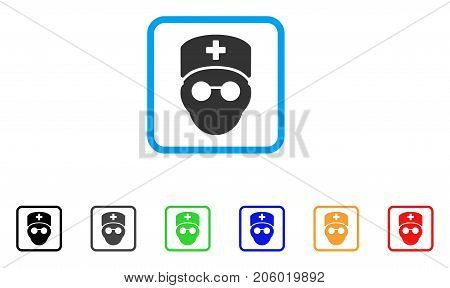 Medic Head icon. Flat pictogram symbol in a rounded square. Black, gray, green, blue, red, orange color versions of Medic Head vector. Designed for web and software UI.