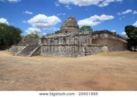El Caracol ancient observatory temple in Chichen Itza Mexico poster