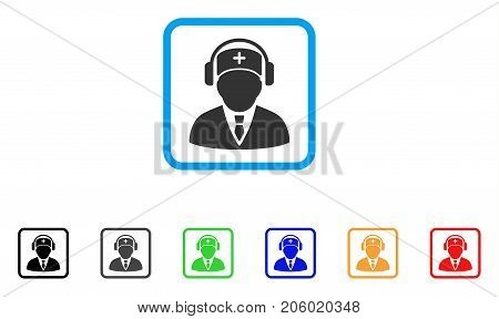 Medical Call Center icon. Flat pictogram symbol inside a rounded square. Black, gray, green, blue, red, orange color variants of Medical Call Center vector. Designed for web and app user interface.