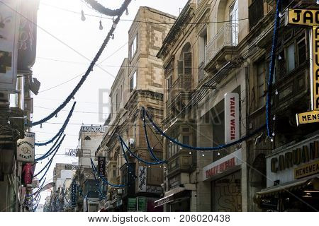 VALLETTA, MALTA - June 28, 2017: Typical street view of Valletta in Malta
