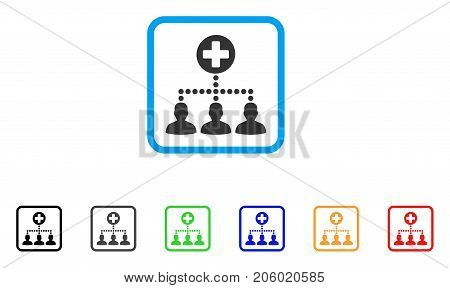 Medical Client Links icon. Flat pictogram symbol inside a rounded frame. Black, gray, green, blue, red, orange color additional versions of Medical Client Links vector.