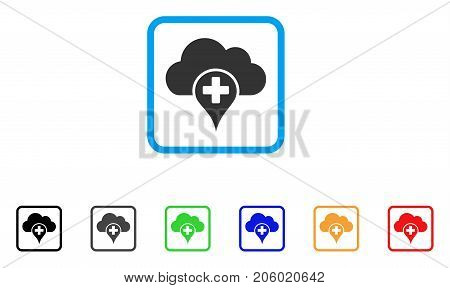 Medical Cloud icon. Flat pictogram symbol inside a rounded frame. Black, gray, green, blue, red, orange color variants of Medical Cloud vector. Designed for web and app interfaces.