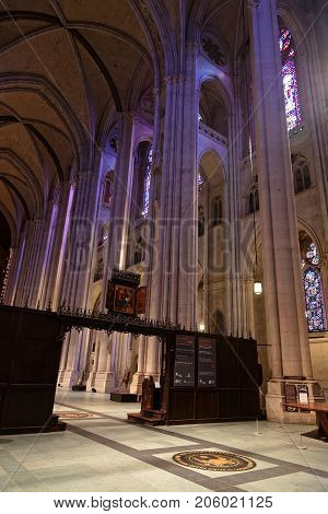 New York City, Usa, September 13, 2017 : Cathedral Of St John The Divine. The Cathedral Of The Episc