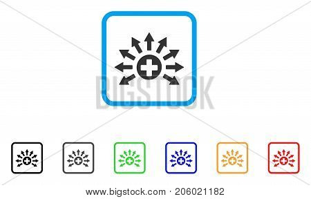 Medical Distribution icon. Flat iconic symbol in a rounded frame. Black, gray, green, blue, red, orange color variants of Medical Distribution vector. Designed for web and application UI.