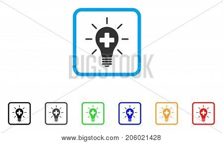 Medical Electric Lamp icon. Flat iconic symbol inside a rounded squared frame. Black, gray, green, blue, red, orange color versions of Medical Electric Lamp vector.