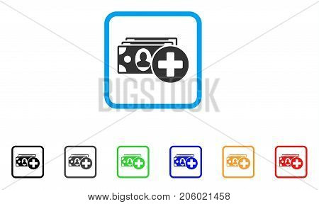 Medical Expences icon. Flat pictogram symbol in a rounded squared frame. Black, gray, green, blue, red, orange color versions of Medical Expences vector. Designed for web and software user interface.
