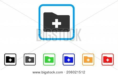 Medical Folder icon. Flat iconic symbol inside a rounded square. Black, gray, green, blue, red, orange color versions of Medical Folder vector. Designed for web and app UI.