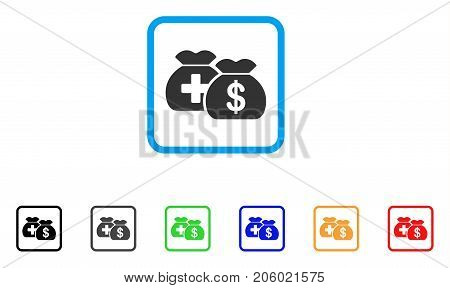 Medical Fund Bags icon. Flat iconic symbol in a rounded frame. Black, gray, green, blue, red, orange color versions of Medical Fund Bags vector. Designed for web and app UI.