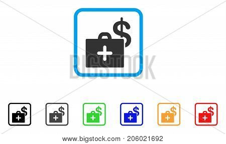 Medical Fund Case icon. Flat pictogram symbol in a rounded squared frame. Black, gray, green, blue, red, orange color additional versions of Medical Fund Case vector. Designed for web and software UI.