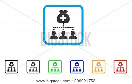Medical Fund Clients icon. Flat iconic symbol inside a rounded square. Black, gray, green, blue, red, orange color versions of Medical Fund Clients vector.