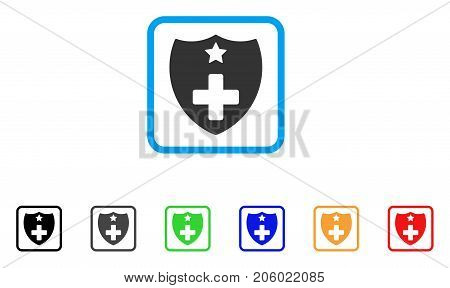Medical Insurance Shield icon. Flat pictogram symbol inside a rounded rectangular frame. Black, gray, green, blue, red, orange color additional versions of Medical Insurance Shield vector.