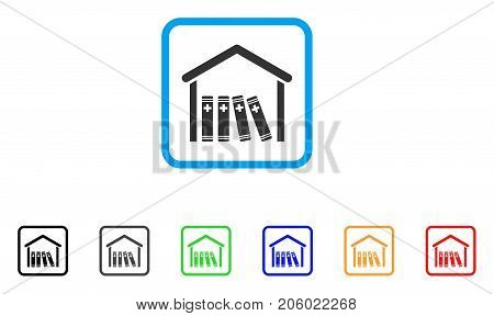 Medical Library icon. Flat pictogram symbol inside a rounded square. Black, gray, green, blue, red, orange color versions of Medical Library vector. Designed for web and application interfaces.