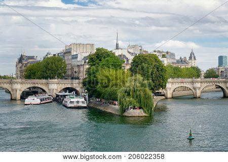 The river Seine and the Ile de la Cite, the center of the city of Paris