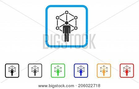 Medical Network Administrator icon. Flat iconic symbol inside a rounded rectangle. Black, gray, green, blue, red, orange color variants of Medical Network Administrator vector.