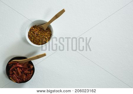Dried red chili pepper and crushed red pepper in bowl on white background