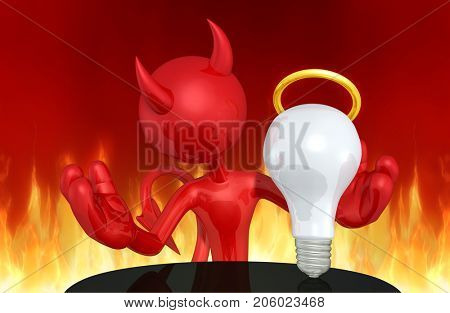 The Original 3D Devil Character Illustration With An Angelic Idea