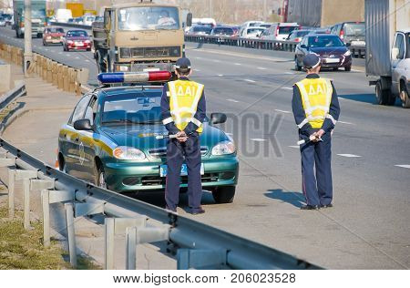 Traffic police in Ukraine, patrol on the road